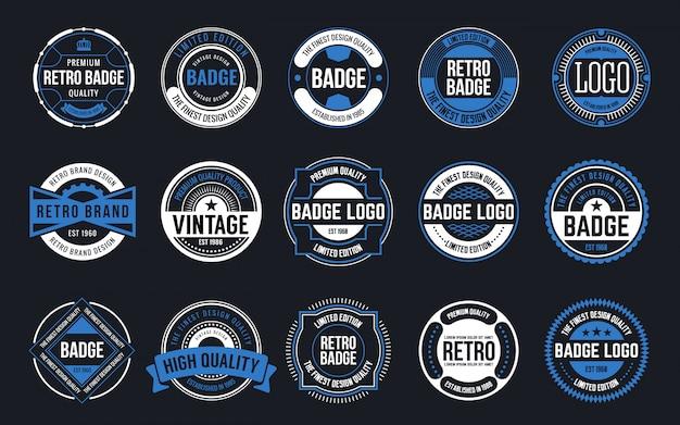 15 retro vintage badges design collection Vetor Premium