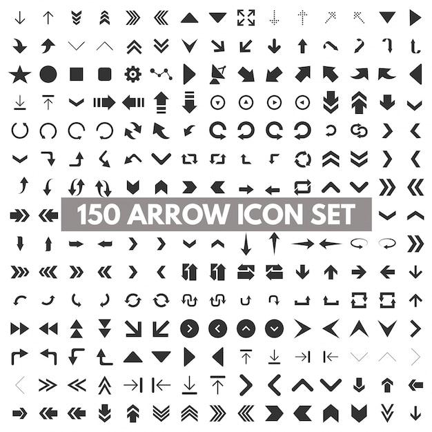 150 seta icon set Vetor grátis