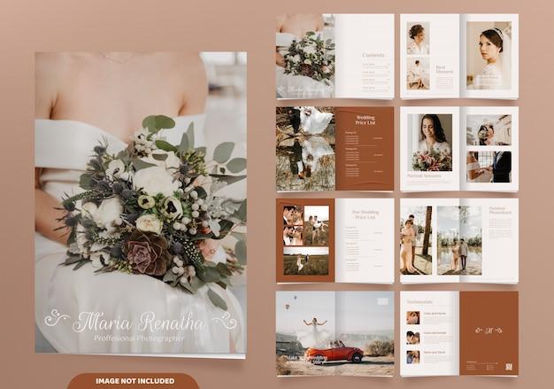 16 páginas de design de brochura de fotografia de casamento minimalista Vetor Premium