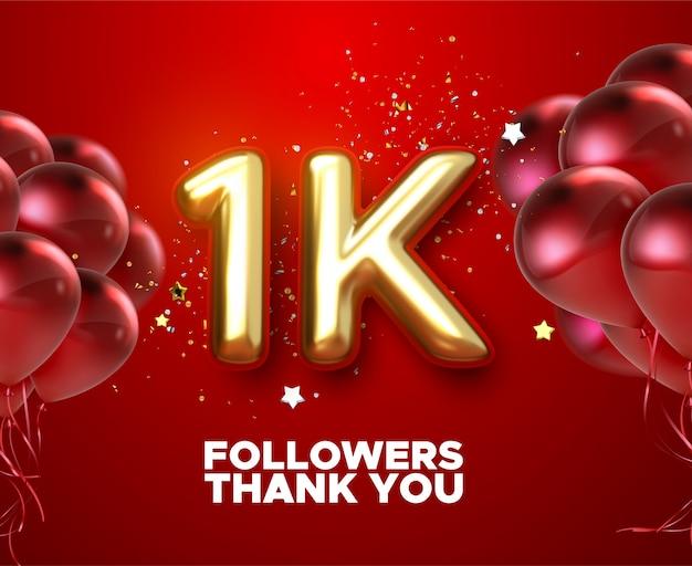 1k, 1000 seguidores, obrigado com balões de ouro e confetes coloridos. a ilustração 3d rende para amigos de redes sociais, seguidores, Vetor Premium
