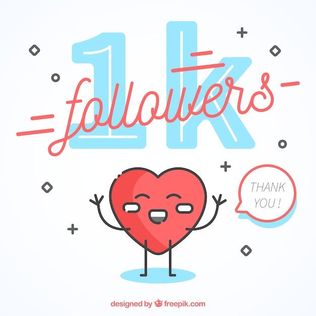 1k fundo do seguidor com coração feliz Vetor grátis