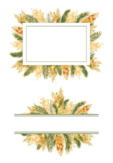2 quadro geométrico com galhos de mimosa na borda externa em um fundo branco e isolado. Vetor Premium