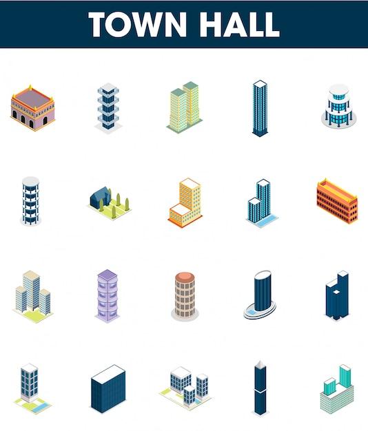 20 isométrico conjunto de ícone da prefeitura. Vetor Premium