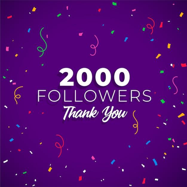 2000 seguidores rede de mídia social Vetor grátis
