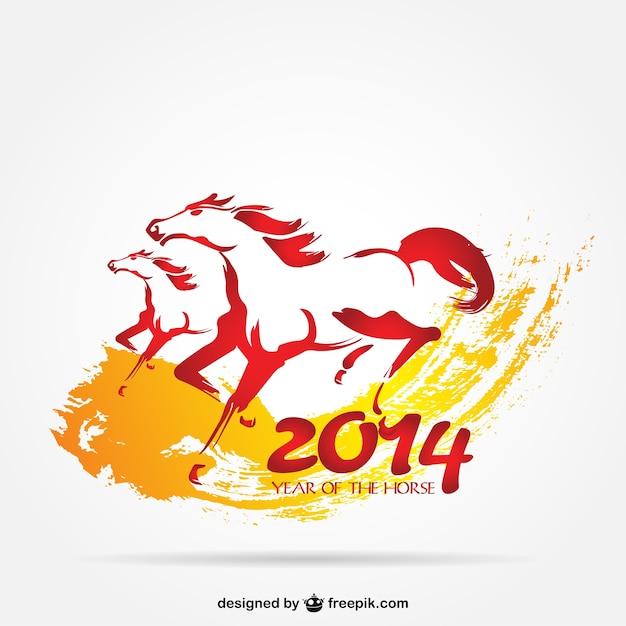2014 ano cavalo vetor Vetor grátis
