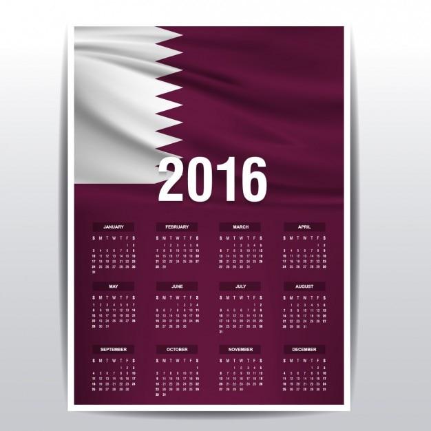 2016 calendário de bandeira qatar Vetor grátis