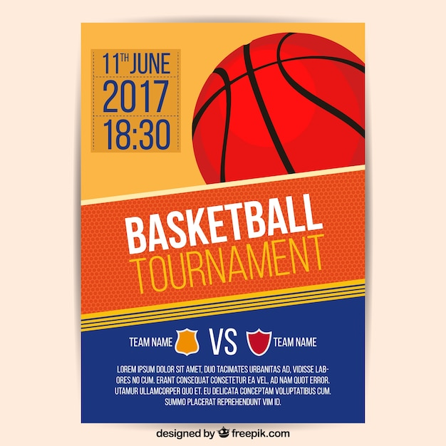 2017 basketball brochura torneio Vetor grátis