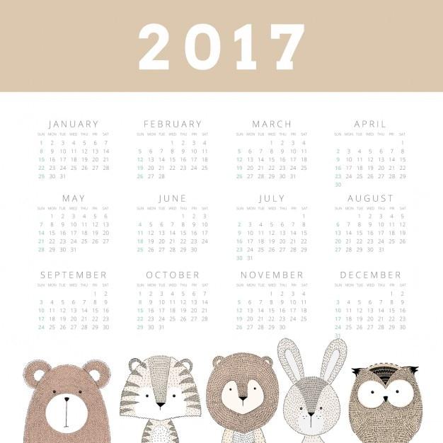 2017 Calendário Adorável Vetor grátis