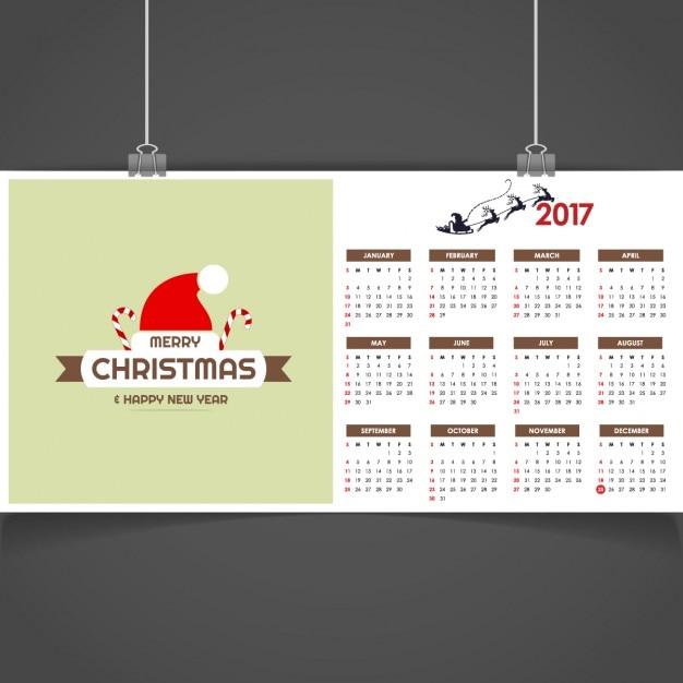 2017 calendário com chapéu de papai noel Vetor grátis