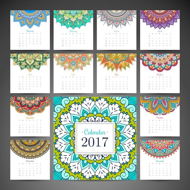 2017 calendário com mandalas Vetor grátis