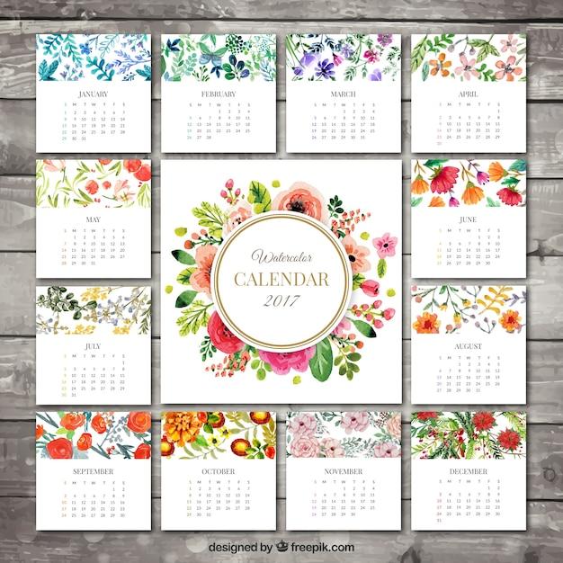 2017 calendário floral Vetor Premium