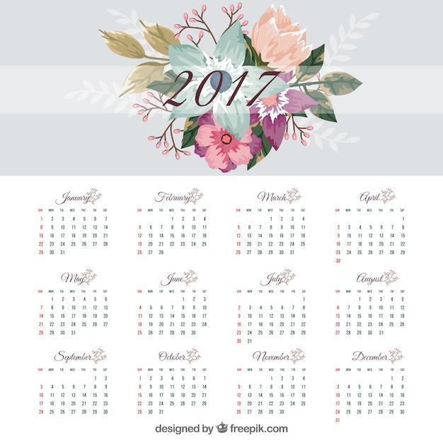 2017 modelo de calendário com flores planas Vetor grátis