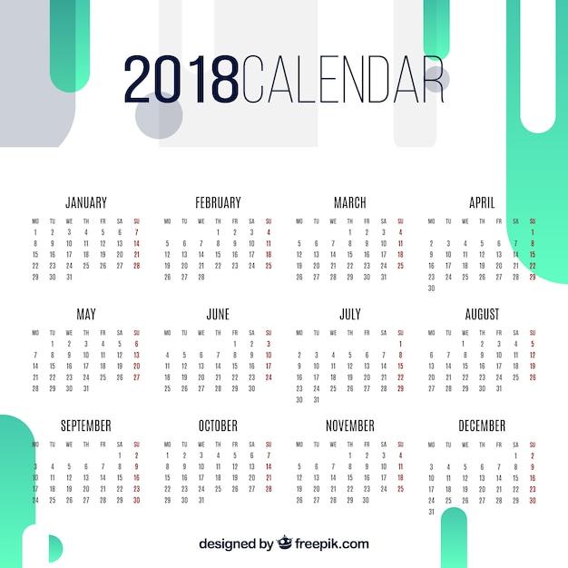 2018 calendário abstrato Vetor grátis