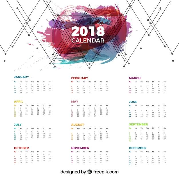 2018 calendário com linhas geométricas e mancha colorida Vetor grátis