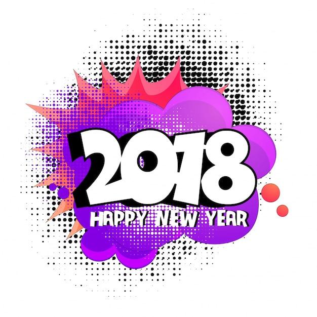 2018 em halftone, fundo de arte pop para feliz ano novo Vetor Premium