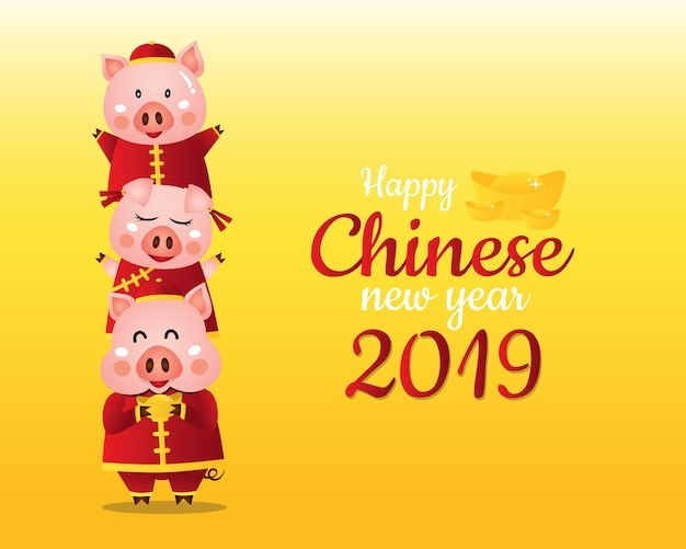2019 ano novo chinês do porco Vetor Premium