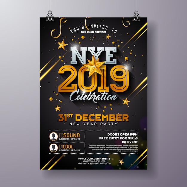 2019, ano novo, partido, celebração, cartaz, modelo, ilustração, com, brilhante, ouro, número Vetor Premium