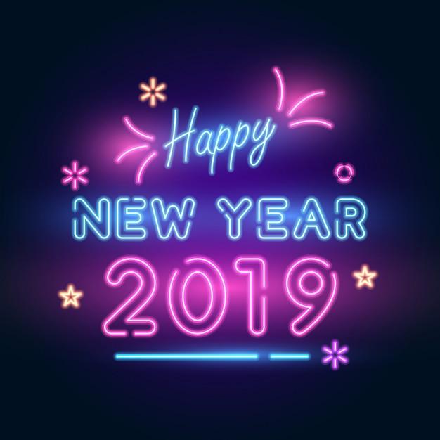 2019 ano novo. texto néon com brilhantes, fogos de artifício, estrela de iluminação. Vetor Premium