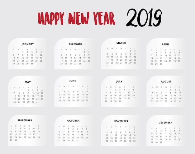 2019 design de calendário para impressão ou plano de fundo Vetor Premium