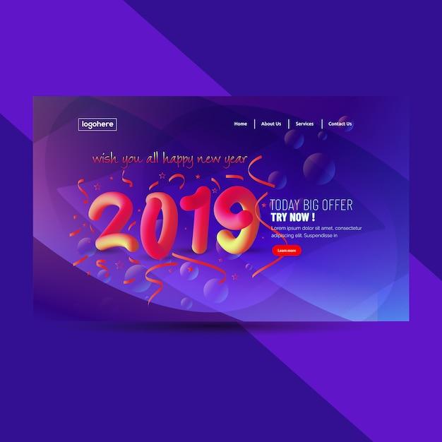 2019 feliz ano novo abstrato Vetor Premium