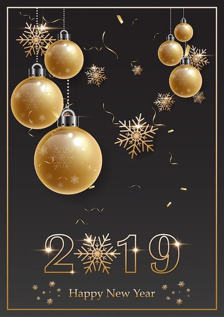 2019 feliz ano novo com alfabeto de ouro e bola de natal de ouro sobre fundo preto Vetor Premium
