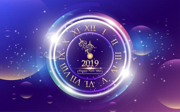 2019 feliz ano novo com o relógio no fundo abstrato Vetor Premium