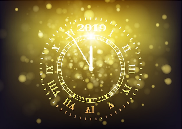 2019 feliz ano novo fundo. contagem regressiva Vetor Premium