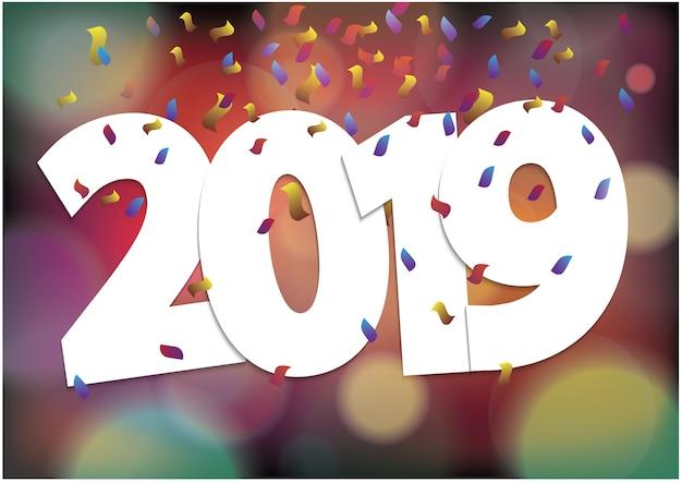2019 feliz ano novo temporada festiva e luzes coloridas bokeh Vetor Premium