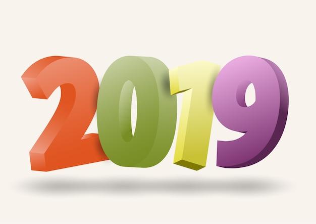 2019 feliz ano novo temporada festiva e luzes de sombra Vetor Premium