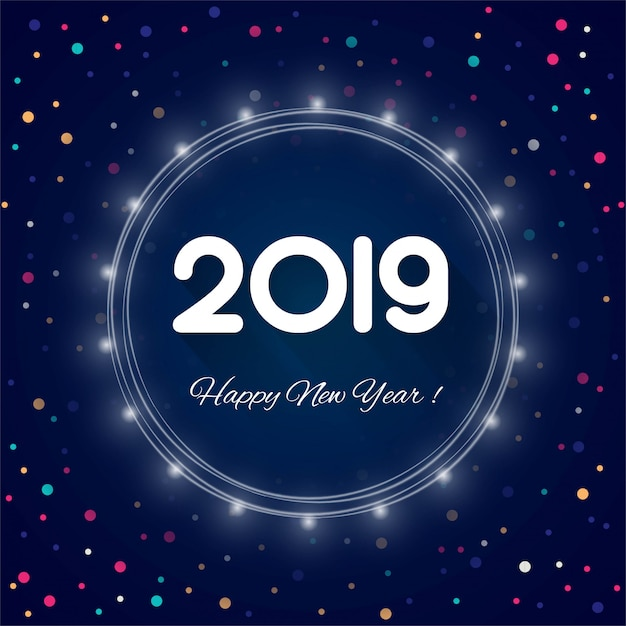 2019 feliz ano novo texto colorido fundo brilhante Vetor Premium