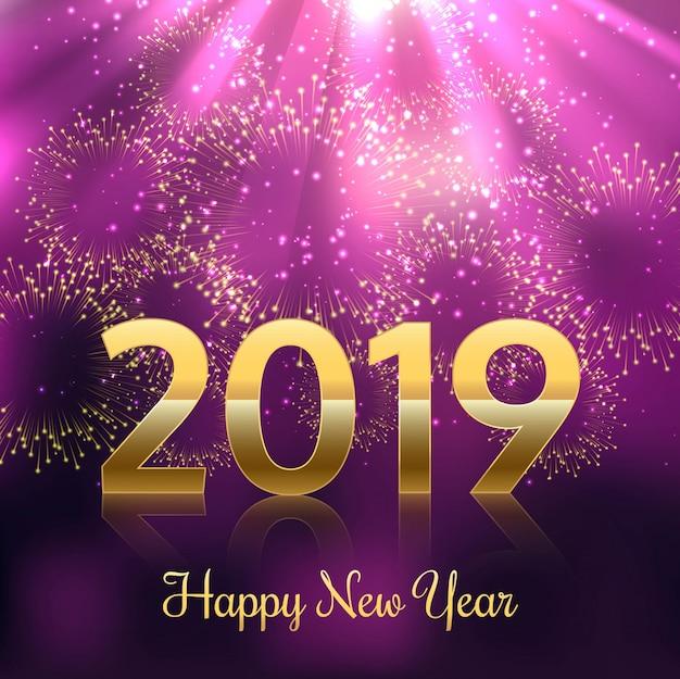 2019 feliz ano novo texto colorido fundo brilhante Vetor grátis