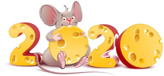 2020 ano do mouse. rato bonito dos desenhos animados mantém queijo Vetor Premium