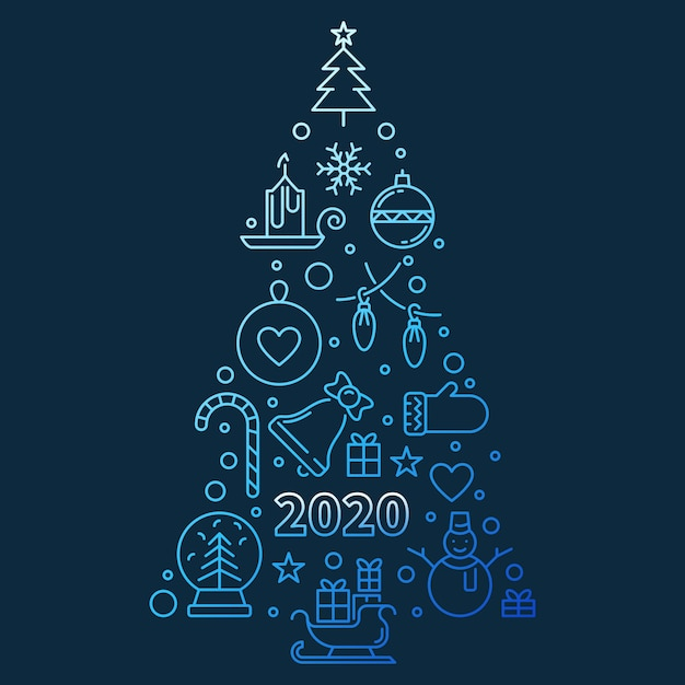 2020, ano novo, árvore, azul, contorno, ilustração Vetor Premium