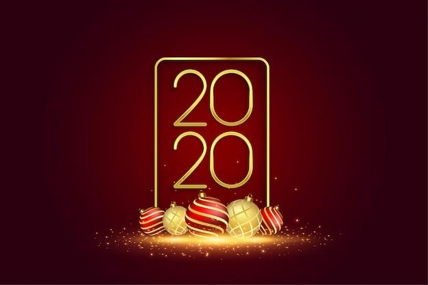 2020 ano novo cartão com bolas de natal 3d Vetor grátis
