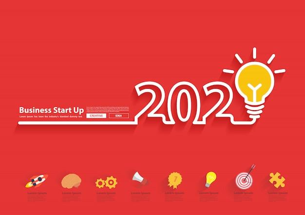 2020 ano novo com design de idéia criativa de lâmpada Vetor Premium