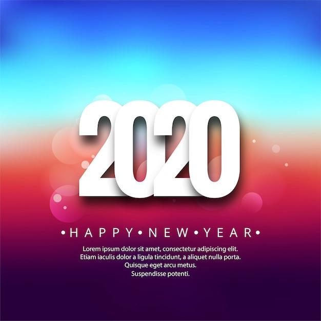 2020 ano novo criativo cartão colorido festival fundo Vetor grátis