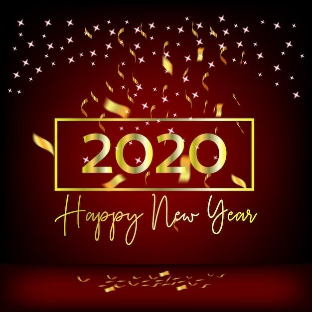 2020 ano novo design cortinas vermelhas e fitas de ouro Vetor Premium
