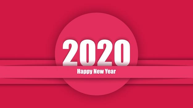 2020 ano novo elegante vermelho moderno cartão de corte de papel vermelho Vetor Premium