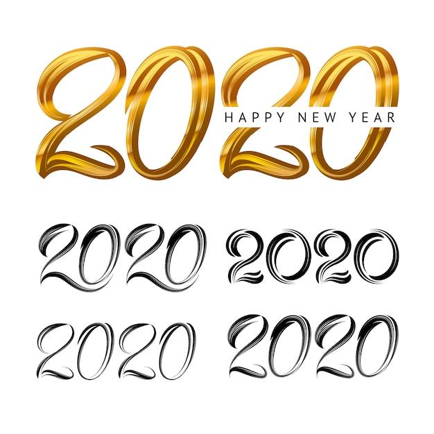 2020 ano novo em estilo de luxo dourado Vetor Premium