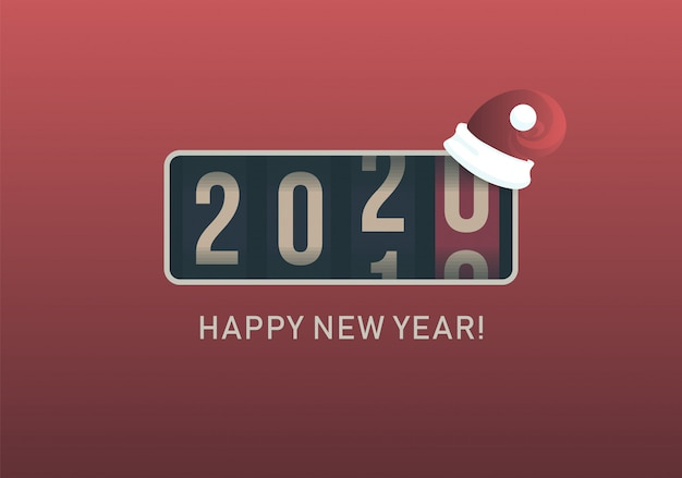 2020 ano novo. visor de contador analógico com chapéu de papai noel de natal, design de estilo retrô. ilustração vetorial Vetor Premium
