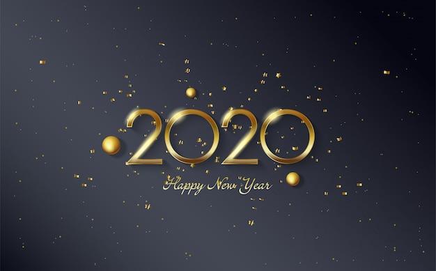 2020 feliz aniversário fundo com miçangas de ouro e figuras coloridas de ouro Vetor Premium
