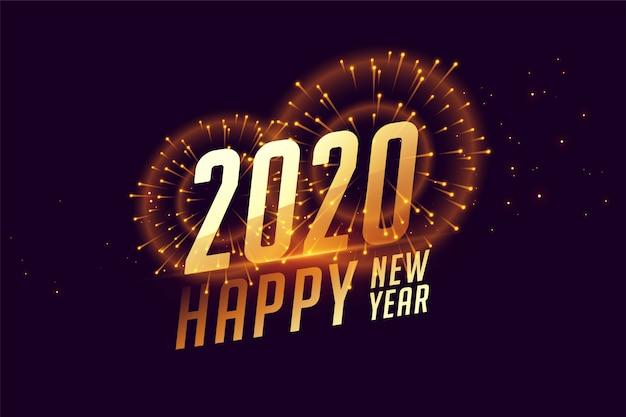 2020 feliz ano novo banner de comemoração com fogos de artifício Vetor grátis