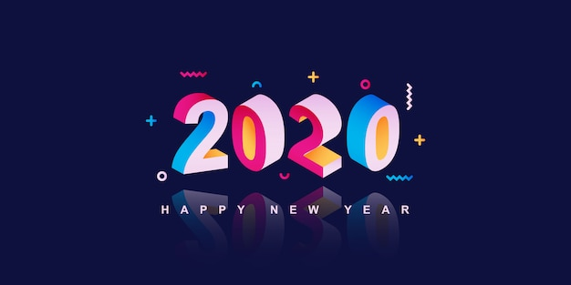 2020 feliz ano novo banner Vetor Premium