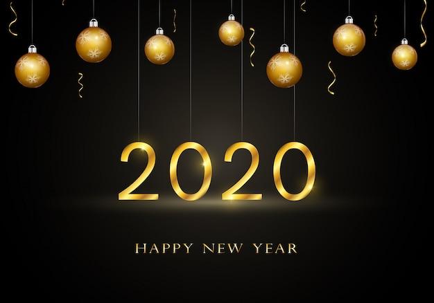2020 feliz ano novo cartão com texto de ouro. Vetor Premium