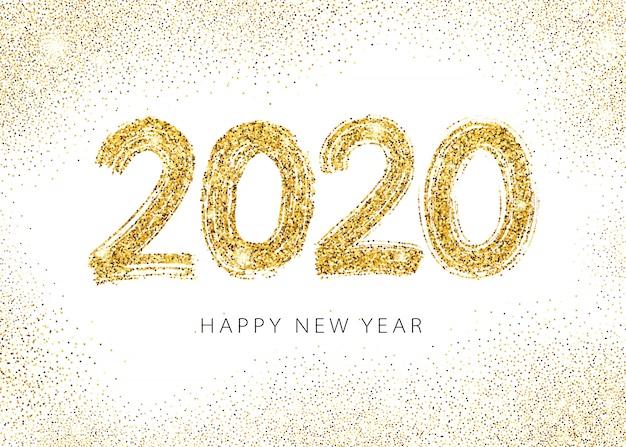 2020 feliz ano novo cartão Vetor Premium