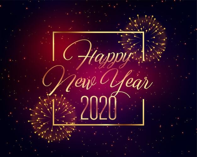 2020 feliz ano novo celebração fogo de artifício saudação Vetor grátis