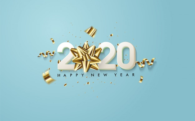 2020 feliz ano novo, com ilustrações de figuras 3d brancas e fitas 3d douradas no oceano azul Vetor Premium