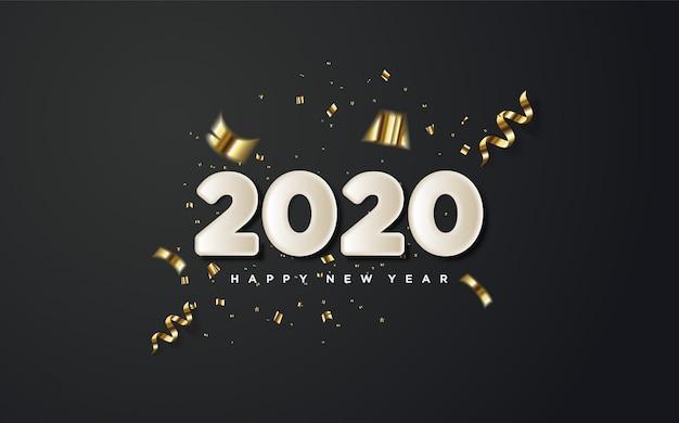 2020 feliz ano novo com números brancos e pedaços de papel dourado em um preto. Vetor Premium