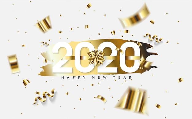 2020 feliz ano novo fundo com pedaços de papel dourado e números brancos Vetor Premium