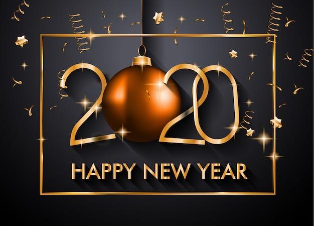 2020 feliz ano novo fundo para seus folhetos sazonais e cartão de cumprimentos de natal Vetor Premium